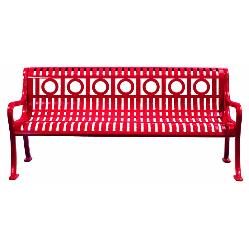 6' Ring Metal Bench with Back