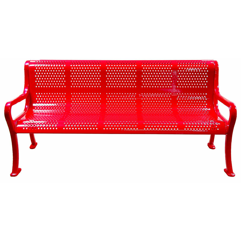 6' Roll Formed Perforated Metal Bench with Back