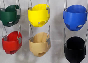 Rubber Full Bucket Swing Seat- Black Blue Green Red Tan Yellow
