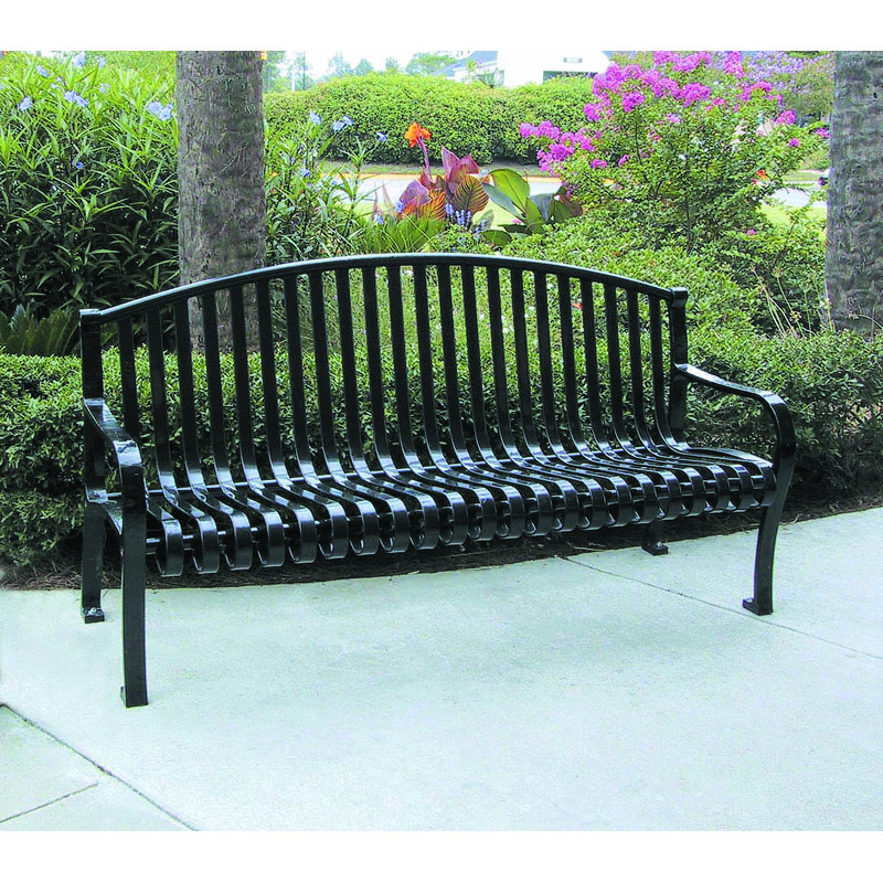6' Metal Strap Bench with Back, Arch Top