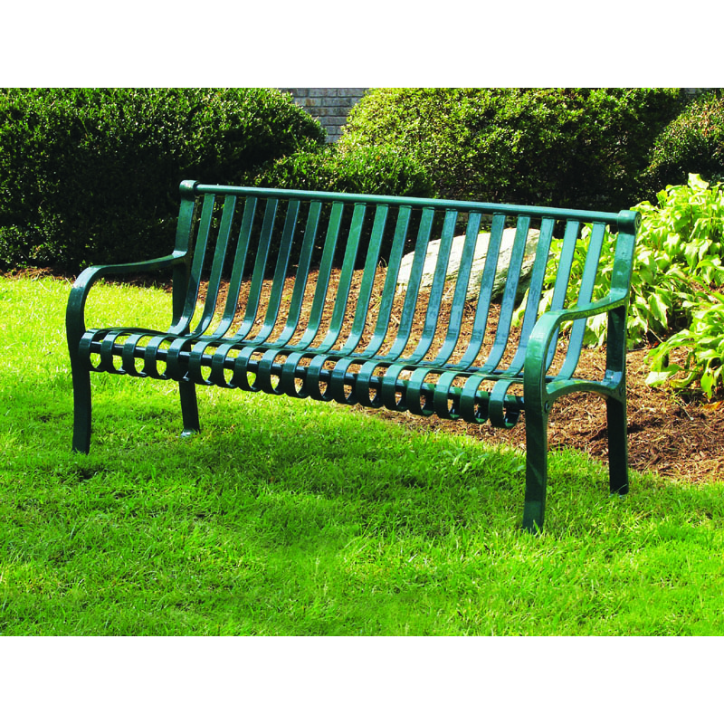 6' Metal Strap Bench with Back, Flat Top