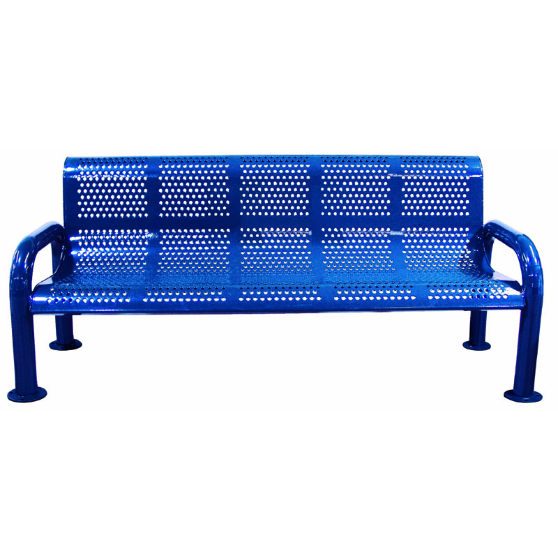 6' Perforated Metal Bench with Back, U-Leg