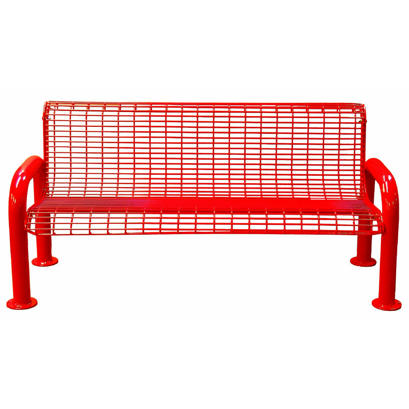6' Wire Metal Bench with Back, U-Leg