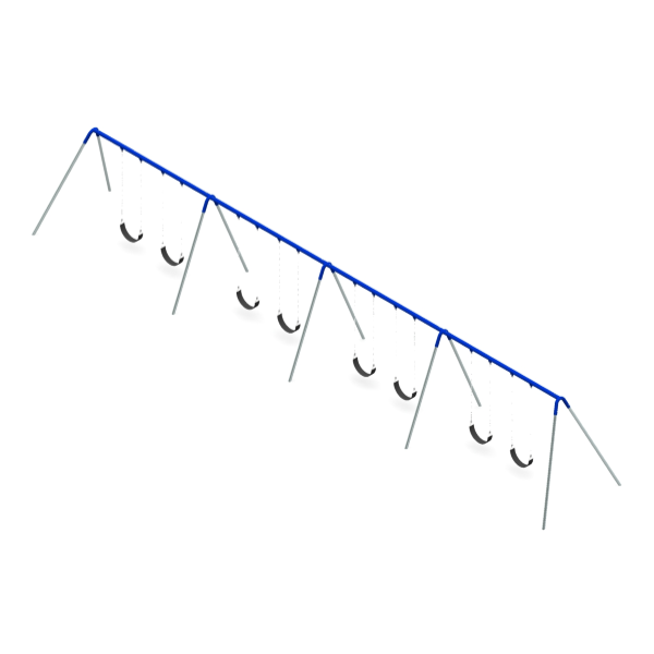 Bi-Pod Swing (Galvanized Uprights) - Four Bay