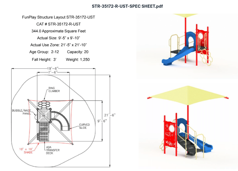 Quick Ship Playground Equipment Structure 1 Shade