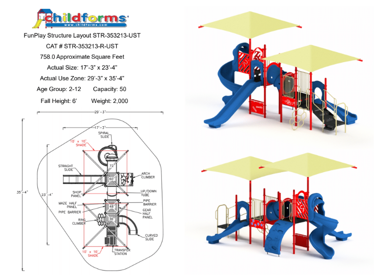 Quick Ship Playground Equipment Structure 4 With Shade