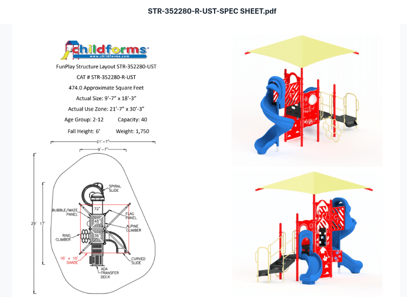 Quick Ship Playground Equipment Structure 3 Shade