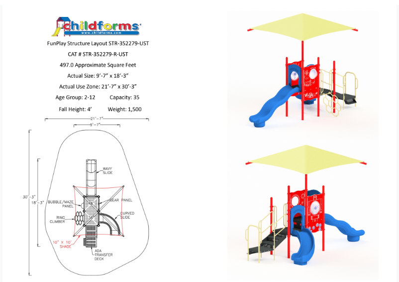 Quick Ship Playground Equipment Structure 2 Shade